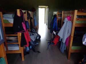 Quarto compartilhado no albergue em Ferreiros, no Caminho de Santiago