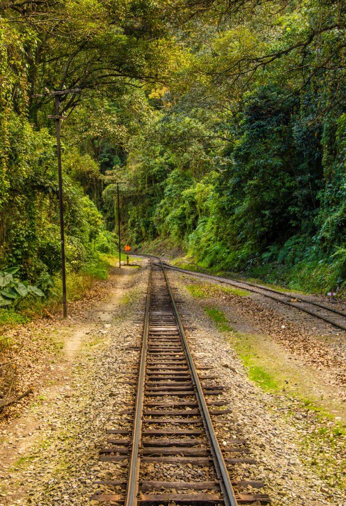 Caminho de trem para Águas Calientes