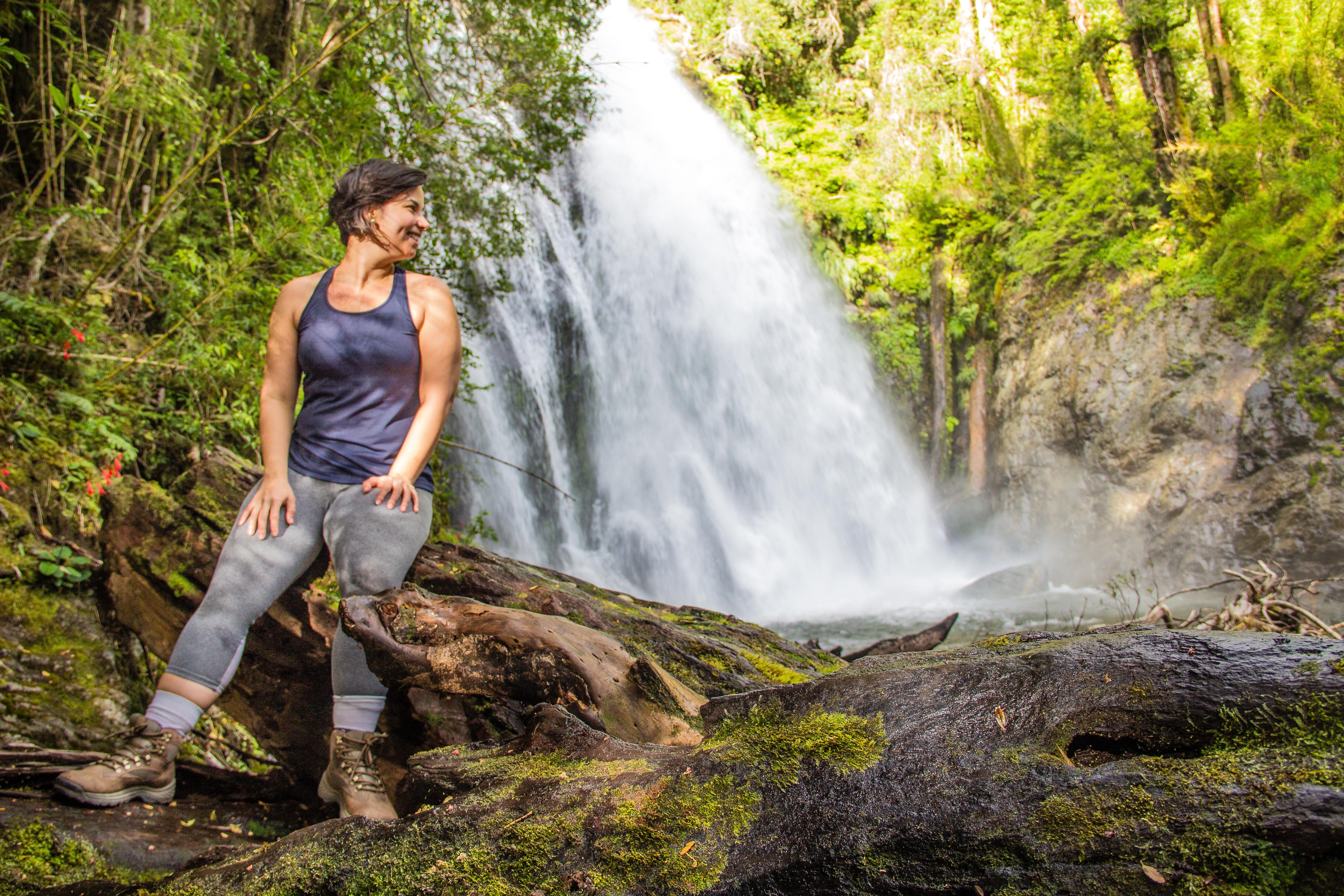 Cachoeira em trilha no Parque nacional Huequehue em Pucón, Chile