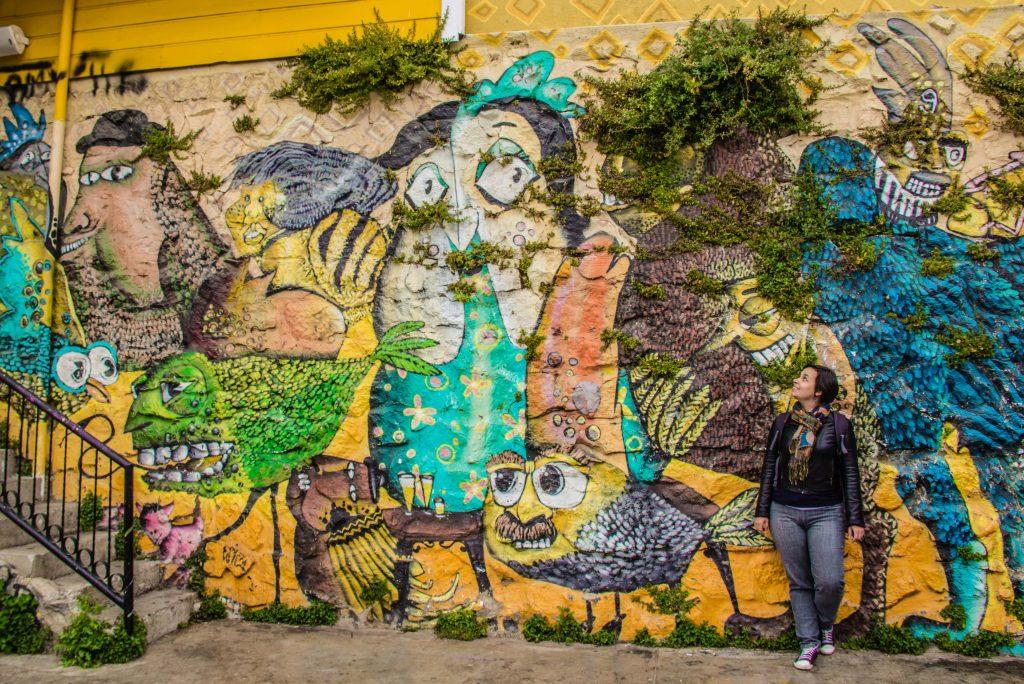 mural de grafitti em Valparaiso
