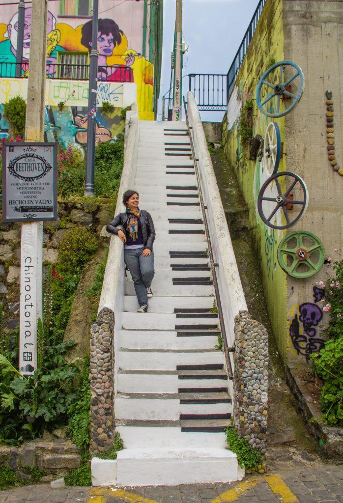 Escadaria Beethoven em Valparaíso