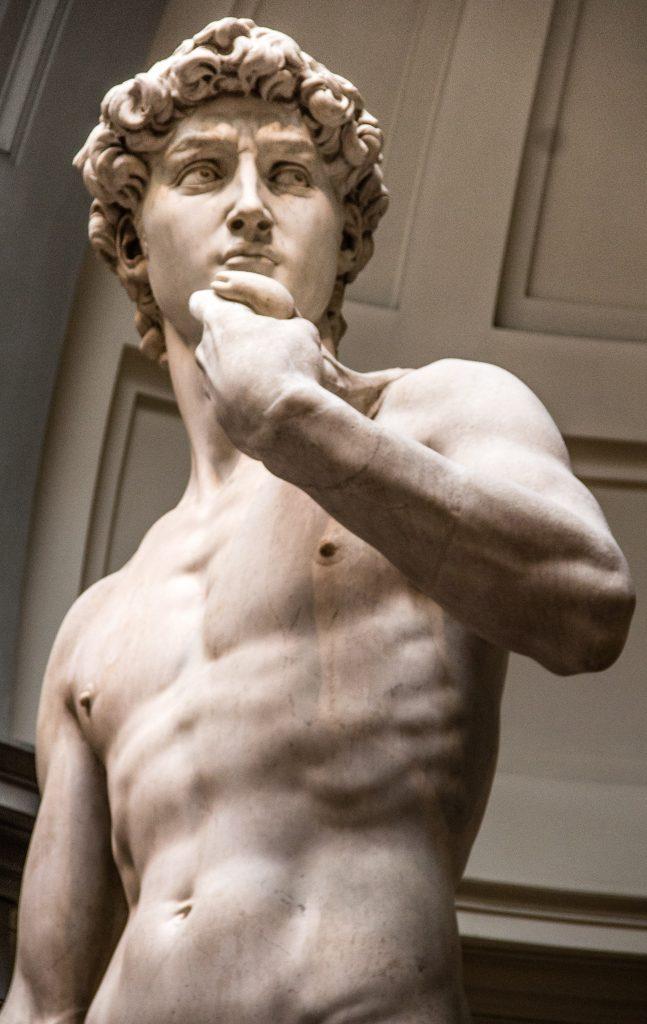 Detalhe do rosto e torso da estatua de Davi de Michelangelo - Firenze Card