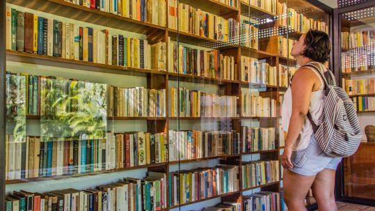 mulher diante de estante de livros / filmes africa do sul