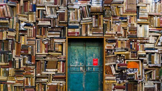 porta em parede coberta por livros - livros escrever sobre viagem